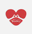 red heart and hand embracevalentines romantic vector image