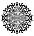 round floral mandala in black and white vector image