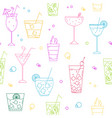 seamless pattern with different types cocktails vector image