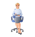 secretary in chair with tablet image vector image