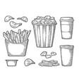 set fast food vintage engraving vector image vector image