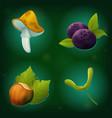 set of forest icons mushroom bleuberry hazelnut vector image vector image