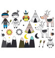 set of isolated tribal boy and animals in scandina vector image vector image
