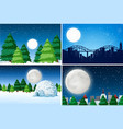 set of outdoor winter landscape vector image vector image