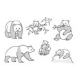 set of pandas in outline vector image vector image