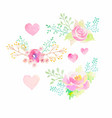 set watercolor flower elements vector image vector image