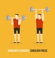 shoulder exercises shoulder press vector image vector image