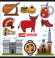spain travel destination promotional poster with vector image