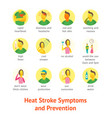 sunstroke symptoms icon set vector image vector image