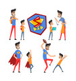 super hero dad and his son set super busy father vector image