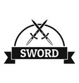 sword warrior logo simple black style vector image vector image