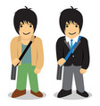 twin man freelance vs office man vector image vector image