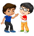 two boy characters with happy face vector image vector image