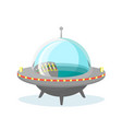 ufo spaceship icon on white vector image