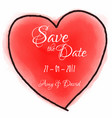 watercolour heart for save the date invitation vector image vector image
