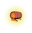 Wooden barrel of beer with a tap icon comics style vector image
