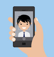 young boy doing a selfie with smartphone vector image