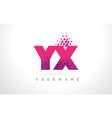 yx y x letter logo with pink purple color and vector image vector image