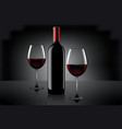 two glasses of wine and bottle over gray vector image