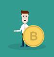 a businessman with a bitcoin vector image