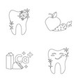 a tooth with brilliant sparkling an apple with vector image vector image
