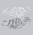 black and white asian dragons vector image