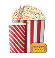 bowl full popcorn paper glass cinema ticket vector image