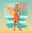 Boy with surfboard vector image