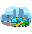 bus transport in front of city facade vector image