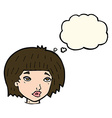 cartoon bored looking woman with thought bubble vector image vector image