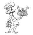 cartoon image of chef with burgers vector image