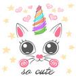 cat unicorn caticorn vector image vector image
