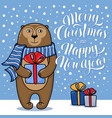 christmas and new year card with standing monkey vector image