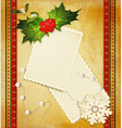 christmas greeting card with holly vector image vector image