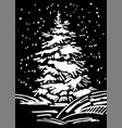 christmas tree hand drawn marker vector image