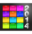 Colorful calendar for 2014 vector image vector image