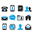 contact icons set - mobile user email vector image vector image