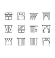Curtains and lambrequin black line icons vector image vector image