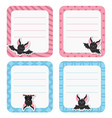 cute cards or stickers with bat cute cards or vector image