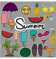 cute stickers hand drawn doodle summer set vector image