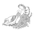 decorative little bird with flowers vector image vector image