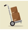 delivery cart with boxes isolated icon vector image