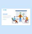 educator analyzing diagram report webpage vector image vector image