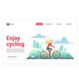 enjoying cycling landing page template vector image