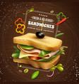 fresh sandwich wooden background vector image vector image