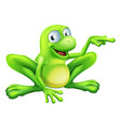 frog pointing vector image vector image