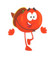 funny cartoon red tomato character wearing vector image