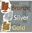 Gold silver and bronze coins vector image vector image