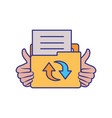 hands with folder isolated icon vector image