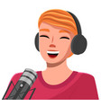 happy cheerful woman wearing headphones and vector image vector image